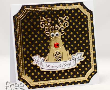 Renifer z ruchomymi oczkami - Kartka świąteczna KBN1924