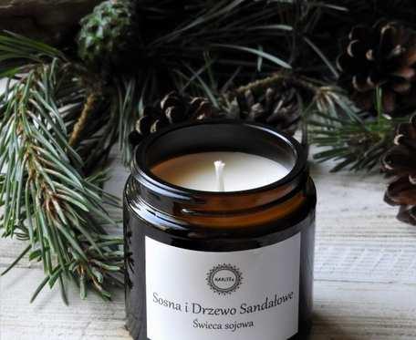 Naturalna, zapachowa świeca sojowa- SOSNA I DRZEWO SANDAŁOWE