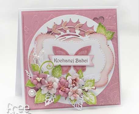 Kochanej Babci - Pudrowy róż i motyl KDB2001