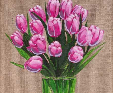 Tulipany - obraz namalowany na naturalnym płótnie lnianym, oprawiony w drewnianą ramę