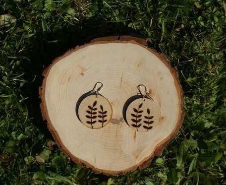 drewniane kolczyki