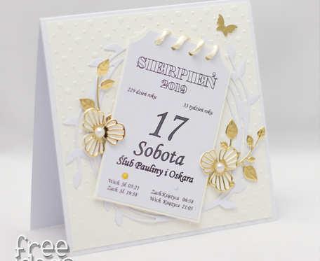 Kartka z kalendarza * spersonalizowana kartka ślubna KS1921 na zamówienie