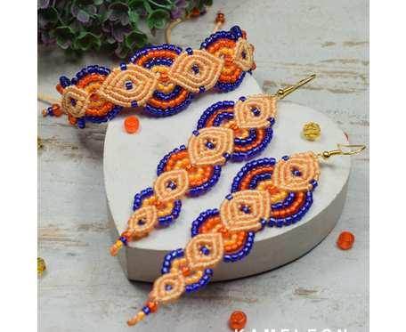 Kolorowy komplet z koralików w odcieniach chabru i pomarańczy