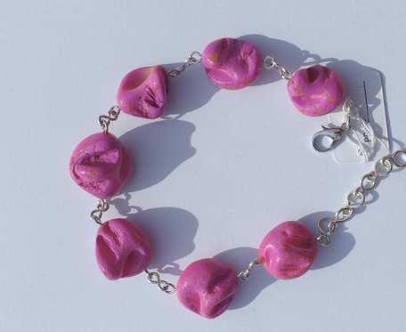 Bransoletka z masy perłowej - bryłki różowe -  wzór IV