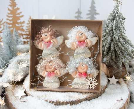 Paczuszka uroczych aniołków na zawieszce, w pudełeczku. Prezent na Boże Narodzenie (s07)