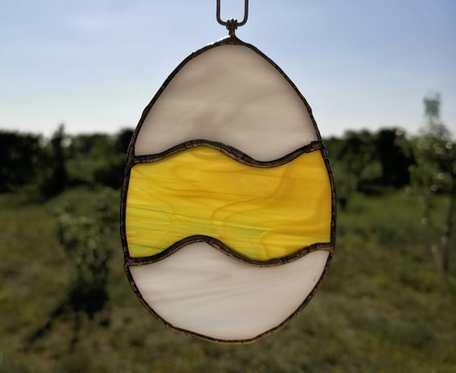 Szklana zawieszka jajko (witraż) #6