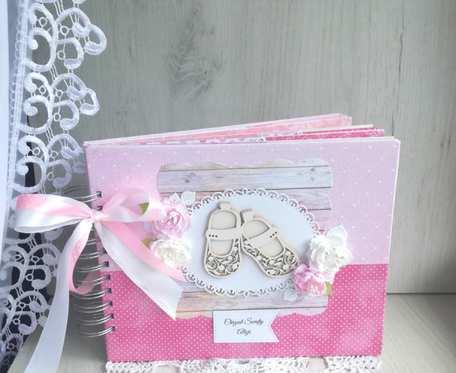 Album z bucikami na Chrzest dla Dziewczynki, różowy