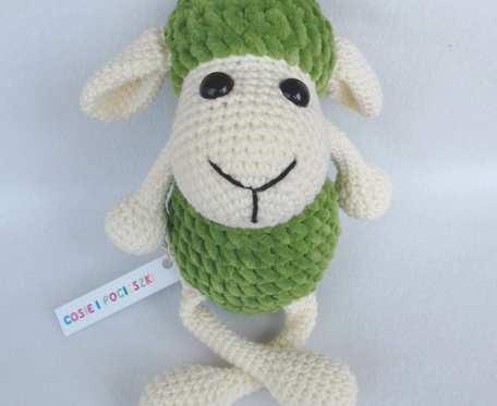 Pluszowa Owieczka Miłka, kremowo-zielona, 25 cm