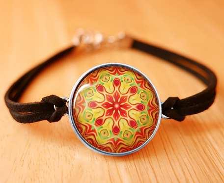 BRANSOLETKA SZCZĘŚCIA z motywem MANDALI orient boho etno ZEN medytacja MANDALA bransoletka przyjaźni na prezent