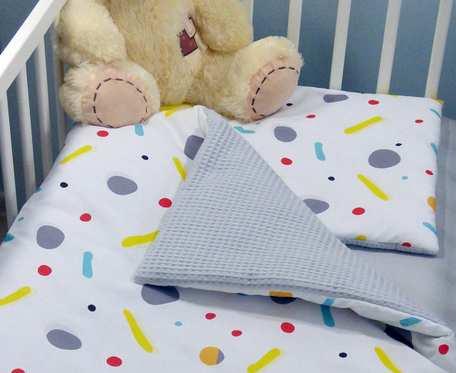 Pościel niemowlęca z wypełnieniem 75 x 100 - bawełniany wafel i bawełna premium