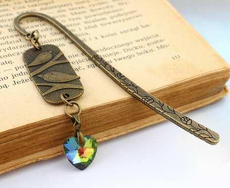Zakładka do książki ptaszki i serce