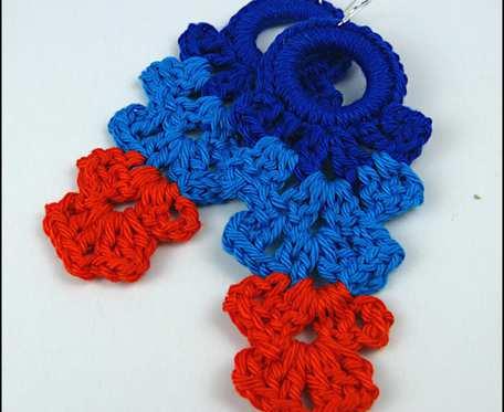 SUNNIVA długie kolorowe szydełkowe bawełniane kolczyki