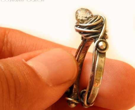 Zielony ametyst pierścionek srebrny