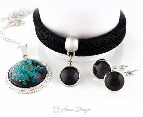 Komplet Black Glam - medalion / kolczyki / bransoletka