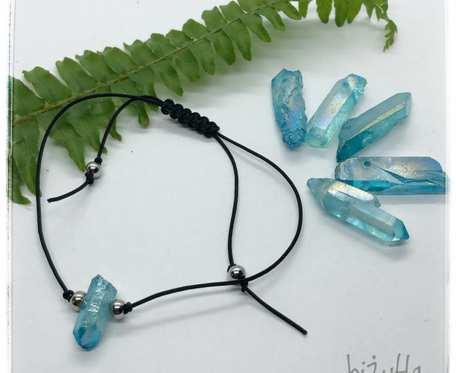 Sznurkowa bransoletka z niebieskim kwarcem aura