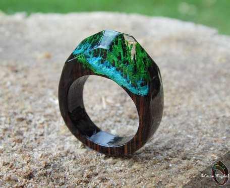 Drewniany pierścionek #BlueRiver