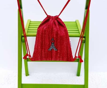 Plecak – Worek dla dzieci czerwony wzór i wieża Eiffla