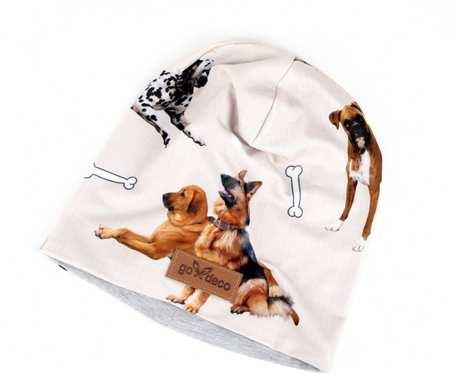 Kolorowa czapka beanie uniwersalna pies
