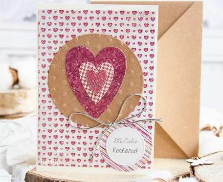 Patchworkowe SERCE. Kartka urodzinowa. Kartka miłosna. Kartka dla bliskiej osoby, dziecka, dla mamy.