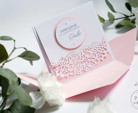 Koronkowe eleganckie zaproszenia ślubne