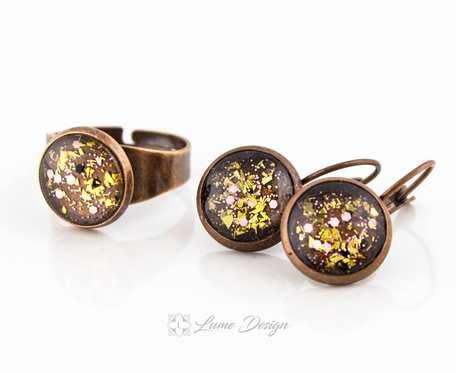 Komplet Golden Glitter - kolczyki / pierścionek