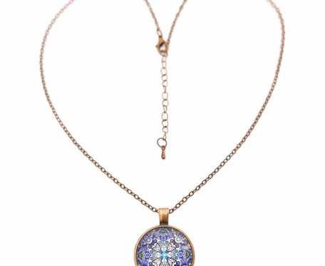 Naszyjnik duży wisior etno orientalna MANDALA boho orient długi łańcuszek vintage stare złoto NA PREZENT Wisiorek z intencją
