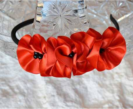 Opaska - czerwone kwiaty