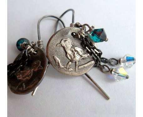 Srebrne kolczyki Birds z kryształkami swarovskiego