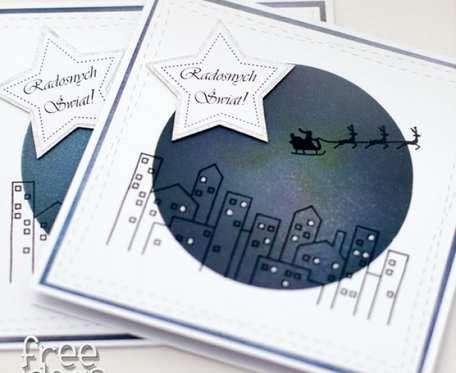 Zestaw 2 kartek świątecznych, noc wigilijna