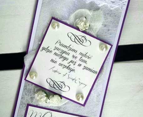 Kartka ślubna wyrazisty fiolet