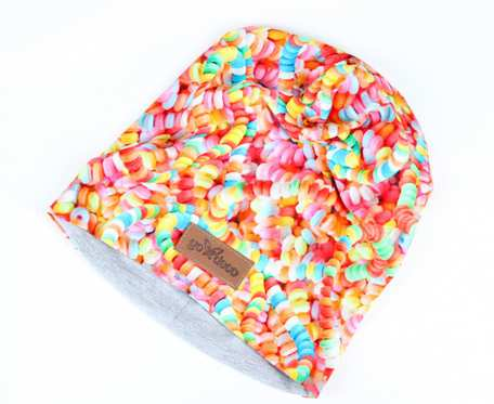 Kolorowa czapka beanie uniwersalna cukierki