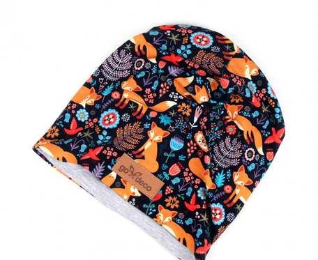 Kolorowa czapka beanie uniwersalna liski