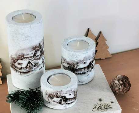 Świeczniki świąteczne – zimowa wioska