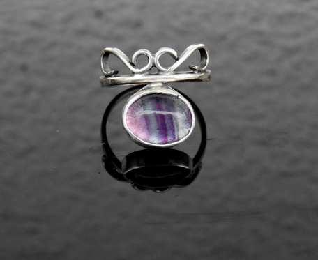 Pierścionek srebrny z fluorytem rozmiar 14