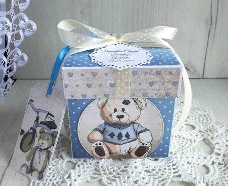 Exploding box z misiem na chrzest, roczek, narodziny, dla chłopca GOTOWY