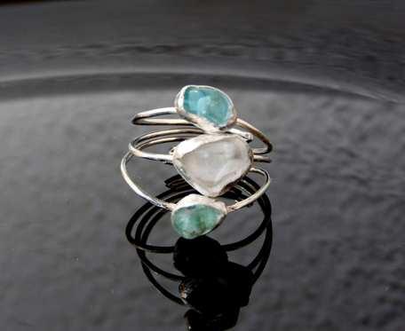 Pierścionek srebrny z apatytem i kryształem