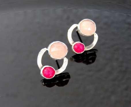 Kolczyki srebrne z różowymi agatami