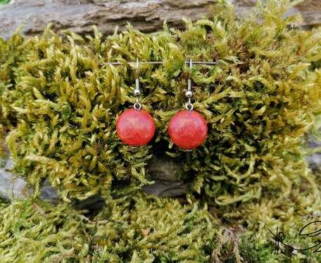 Kolczyki kamyki (czerwone) #3