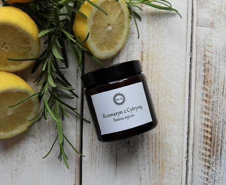 Zapachowa, naturalna świeca sojowa ROZMARYN Z CYTRYNĄ
