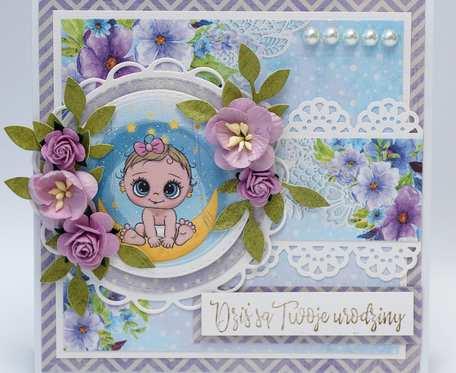 Kartka urodzinowa z bobasem