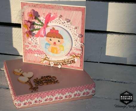 Kartka na roczek dziewczynki