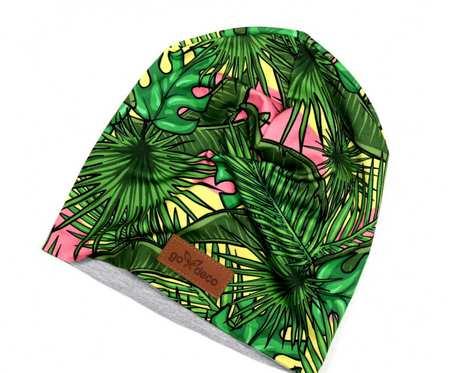 Kolorowa czapka beanie uniwersalna palmy monstera