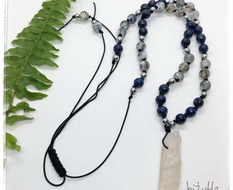 Naszyjnik z kamieniami aura anielska, lapis lazuli, agat, hematyt srebrny w stylu boho na sznurku