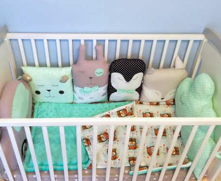 Ochraniacz do łóżeczka, modułowy, zwierzątka, poduszka miętowy