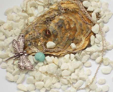 Naszyjnik Ważka z turkusowym agatem