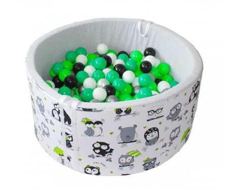 Suchy basen BabyBall z piłeczkami (300 szt) - grube dno 4 cm - Lemon Squeeze - prezent na Roczek