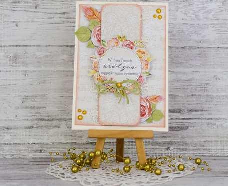 Kartka urodzinowa z akwarelowymi kwiatami