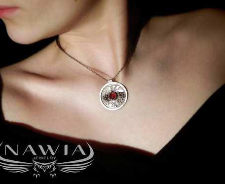 Red Wine - srebrny naszyjnik z agatem