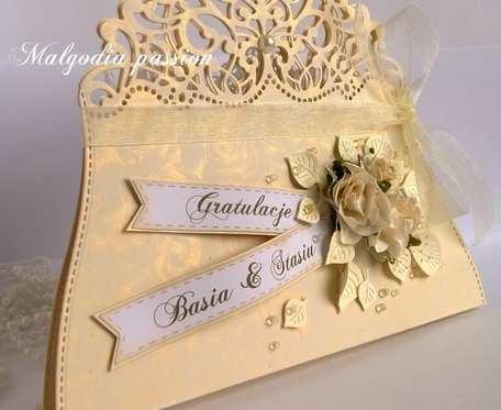 Kartka torebeczka na ślub wersja I