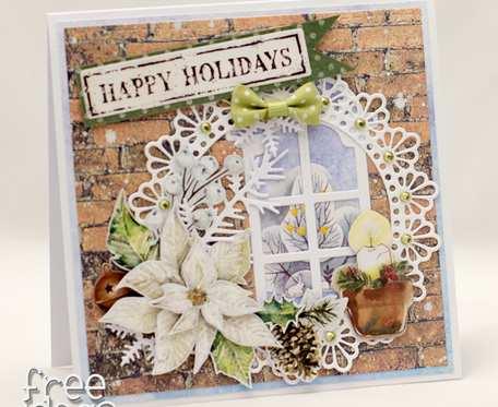 Kartka świąteczna wigilijne okno 1925